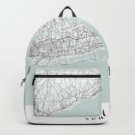 The Hamptons New York Blue Water Street Map Backpack