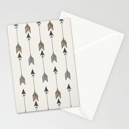 Vertical Arrow Patterns - Cream and Neutral Earth Tones Stationery Cards