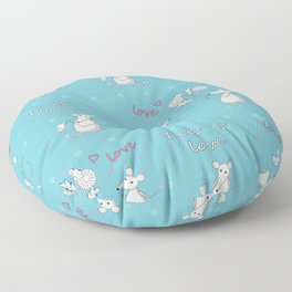 Love story with cute mouses Floor Pillow