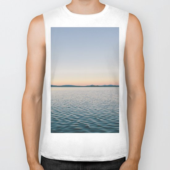 Sunset sea landscape Biker Tank