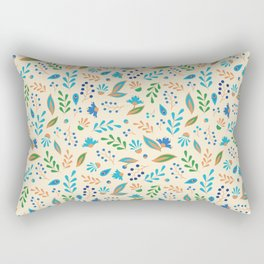 Folk Leaves and Flowers Rectangular Pillow