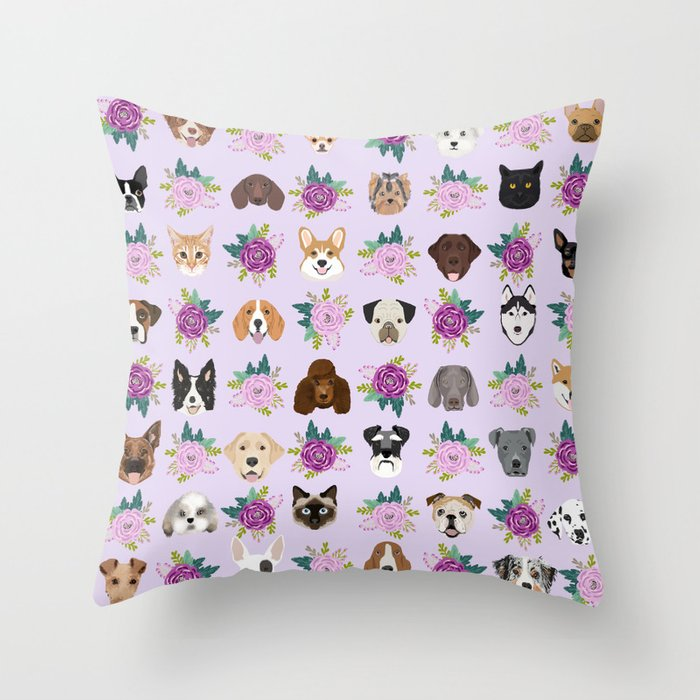 Dogs and cats pet friendly floral animal lover gifts dog breeds cat person Deko-Kissen