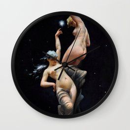 "Luis Ricardo Falero ""Reaching for the Stars (also known as Moonlit Beauties)"" Wall Clock"