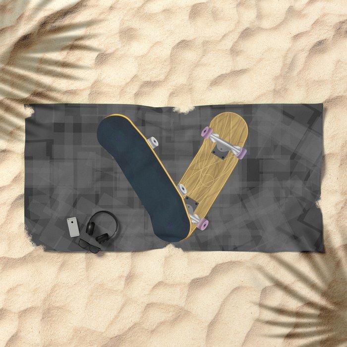 V for skateboard Beach Towel