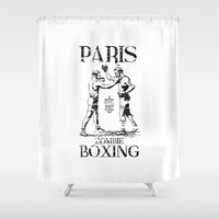 boxing Shower Curtains featuring xX PARIS ZOMBIE BOXING Xx by Frankie White