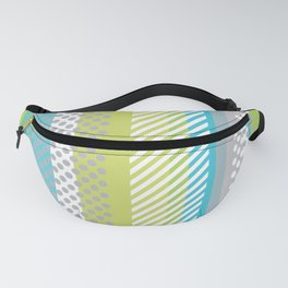 Retro Panels Circles Rectangles Lines Blue Neon Green Fanny Pack