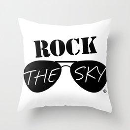 Rock the Sky Aviator Glasses Logo Throw Pillow