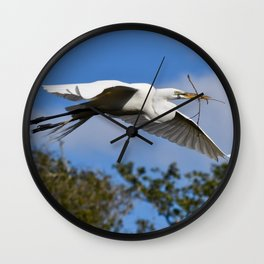 Egret with Branch Wall Clock