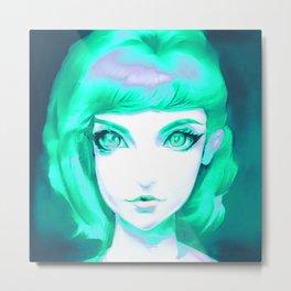 Portrait Of A Girl In Aqua Blue Metal Print