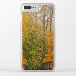 Leaning Into Autumn Clear iPhone Case