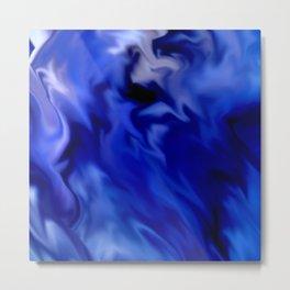Dark Blue and silver waves Metal Print
