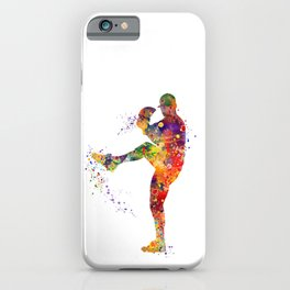 Baseball Boy Pitcher Watercolor iPhone Case