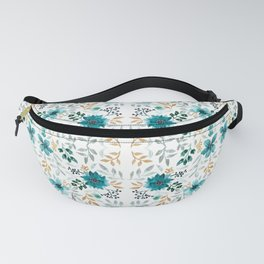 Blue and gold floral print Fanny Pack