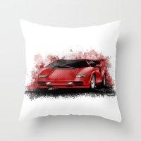 lamborghini Throw Pillows featuring 1985 Lamborghini Countach by an.artwrok