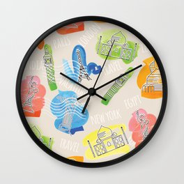 Travel Locations and iconic buildings Wall Clock