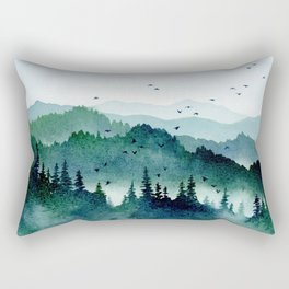 Watercolor Mountains - Handpainted Landscape Art Pine Trees Forest Wanderlust Rectangular Pillow