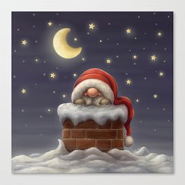 Little Santa in a chimney Canvas Print