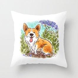 Garden Corgi Throw Pillow