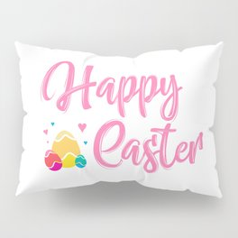 Happy Easter Typography - Easter Eggs with Hearts Pillow Sham