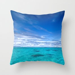South Pacific Crystal Ocean Dreamscape with Boat Throw Pillow