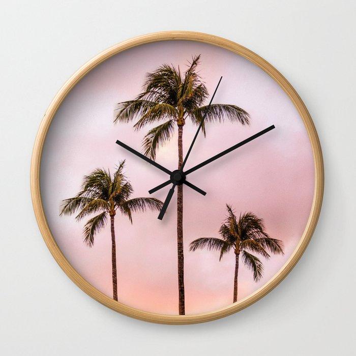 Palm Tree Photography | Landscape | Sunset Unicorn Clouds | Blush Millennial Pink Wall Clock