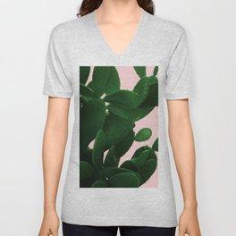 Cactus On Pink Unisex V-Neck