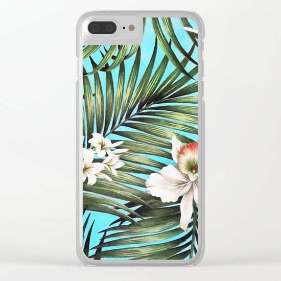 Palm leaves and flowers Clear iPhone Case