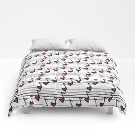 pattern with notes like hearts Comforters