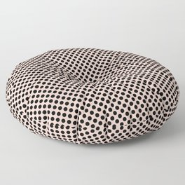 Pale Dogwood and Black Polka Dots Floor Pillow