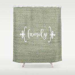 Family on Green Burlap Shower Curtain