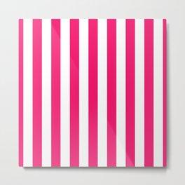 Florida Flamingo Pink Vertical Tent Stripes Florida Colors of the Sunshine State Metal Print