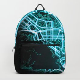 Glendale, CA, USA, Blue, White, Neon, Glow, City, Map Backpack