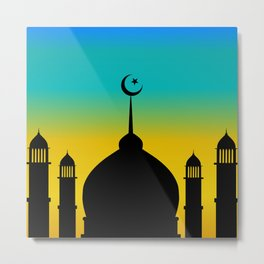Mosque dome and minaret silhouette with moon during sunset - eid gifts Metal Print