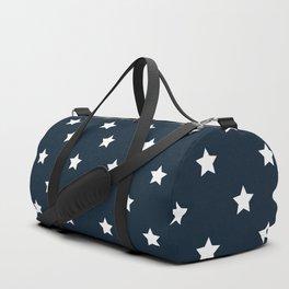 Dark Blue With White Stars Pattern Duffle Bag