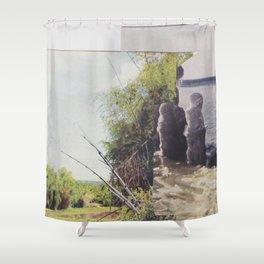 denials a bitch Shower Curtain