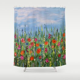 Summer Wildflowers, Landscape Art with Flowers Shower Curtain