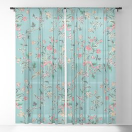 Length of painted silk mid-18th century Chinese Sheer Curtain