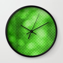 Green Flash small scallops pattern with texture Wall Clock