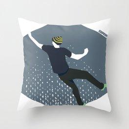 bouldering man Throw Pillow