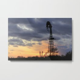 Kansas Windmill Sunset Sillouette Metal Print
