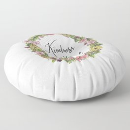 Kindness is beautiful. Watercolor floral wreath illustration. Brush lettering calligraphy. Floor Pillow