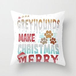 Christmas Dog Greyhounds Make Christmas Merry Throw Pillow