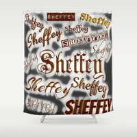 Sheffey Fonts - Gray and Bronze 9643 Shower Curtain