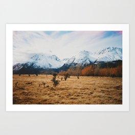 Peaceful New Zealand mountain landscape Art Print