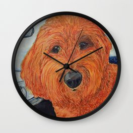 Goldendoodle in the Car Wall Clock
