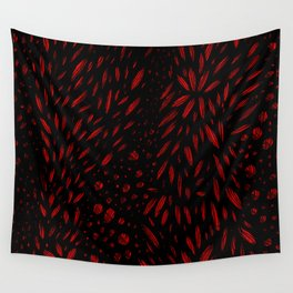 Foliage (Black on Red Variant) Wall Tapestry