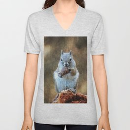 Squirrel with a Pine Cone Unisex V-Neck