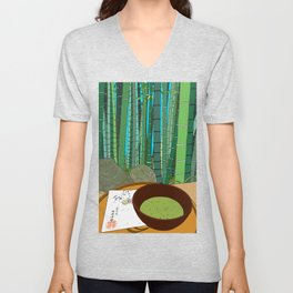 Bamboo Temple in Japan Unisex V-Neck