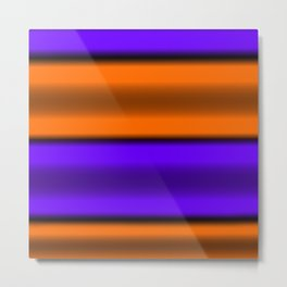 Orange & Purple Horizontal Stripes Metal Print
