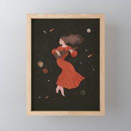 Mandoline Girl in the Night Sky Framed Mini Art Print